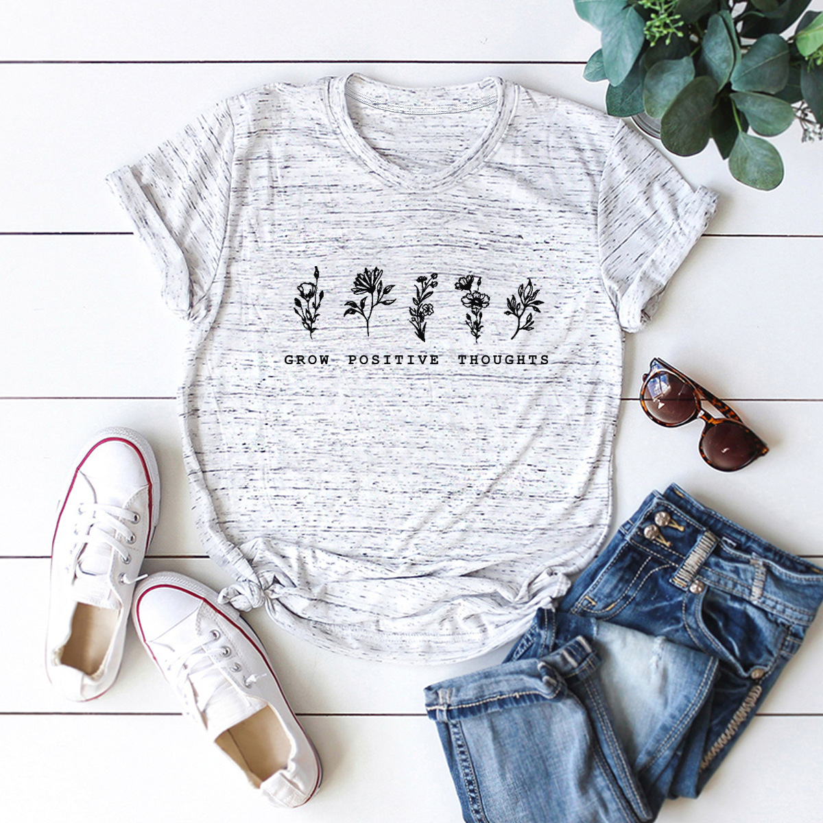 youth small flowers and comfortable short-sleeved T-shirt NSSN1464