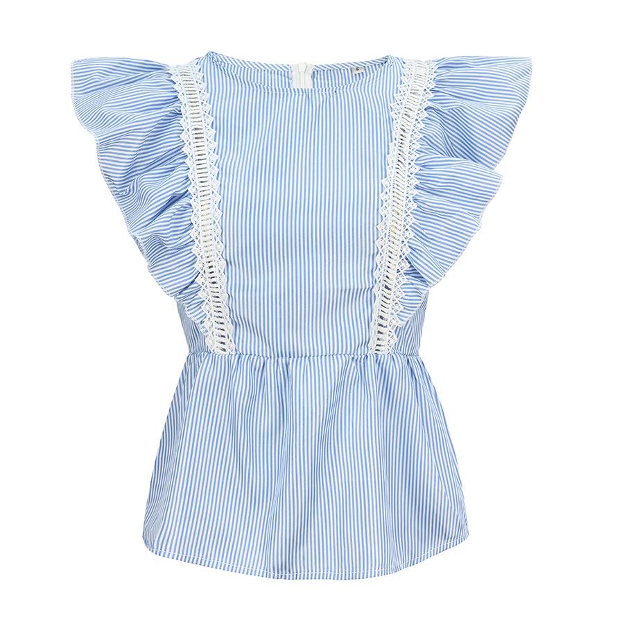 striped waist top cap sleeve T-shirt NSAL2887