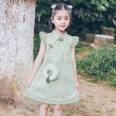 Girls qipao dresses cheongsam skirt Hanfu little girl princess skirt fairy dresses for kids