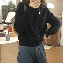 韩国东大门2020新款叠穿针织小开衫短款纯色扣圆领外穿毛衣女外套