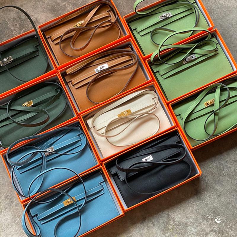 工厂直销bags2020新款潮凯莉包真皮女包单肩斜挎小包 woc凯莉钱包