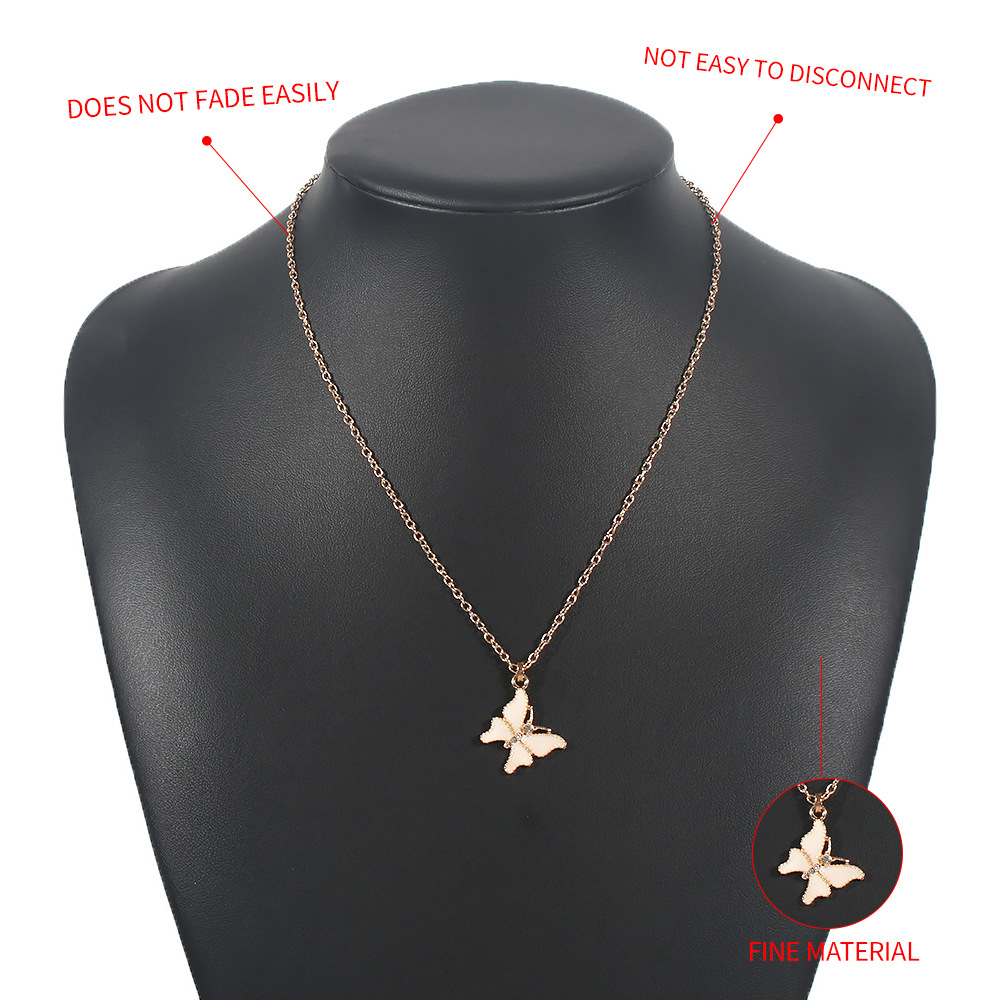 fashion simple butterfly pendant light luxury exquisite necklace wholesale NHMD269516
