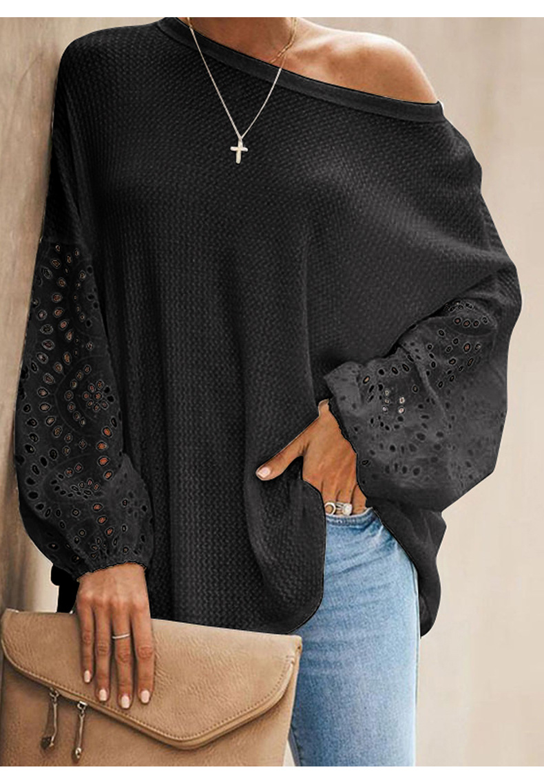 long-sleeved T-shirt solid color round hollow stitching loose top NSSI2565