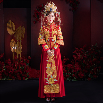 Chinese Wedding dresses for bride chinese traditional style retro qipao dresses wedding party photos shooting phoenix dresses