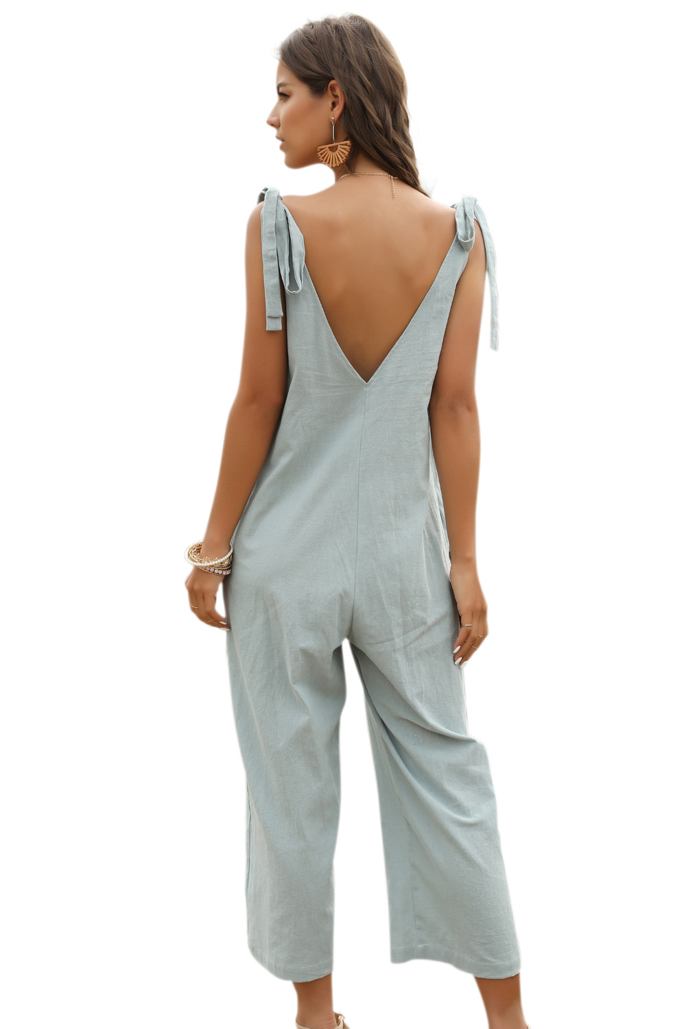 women's cropped trousers blue-green bow suspenders jumpsuit  NSDF1477
