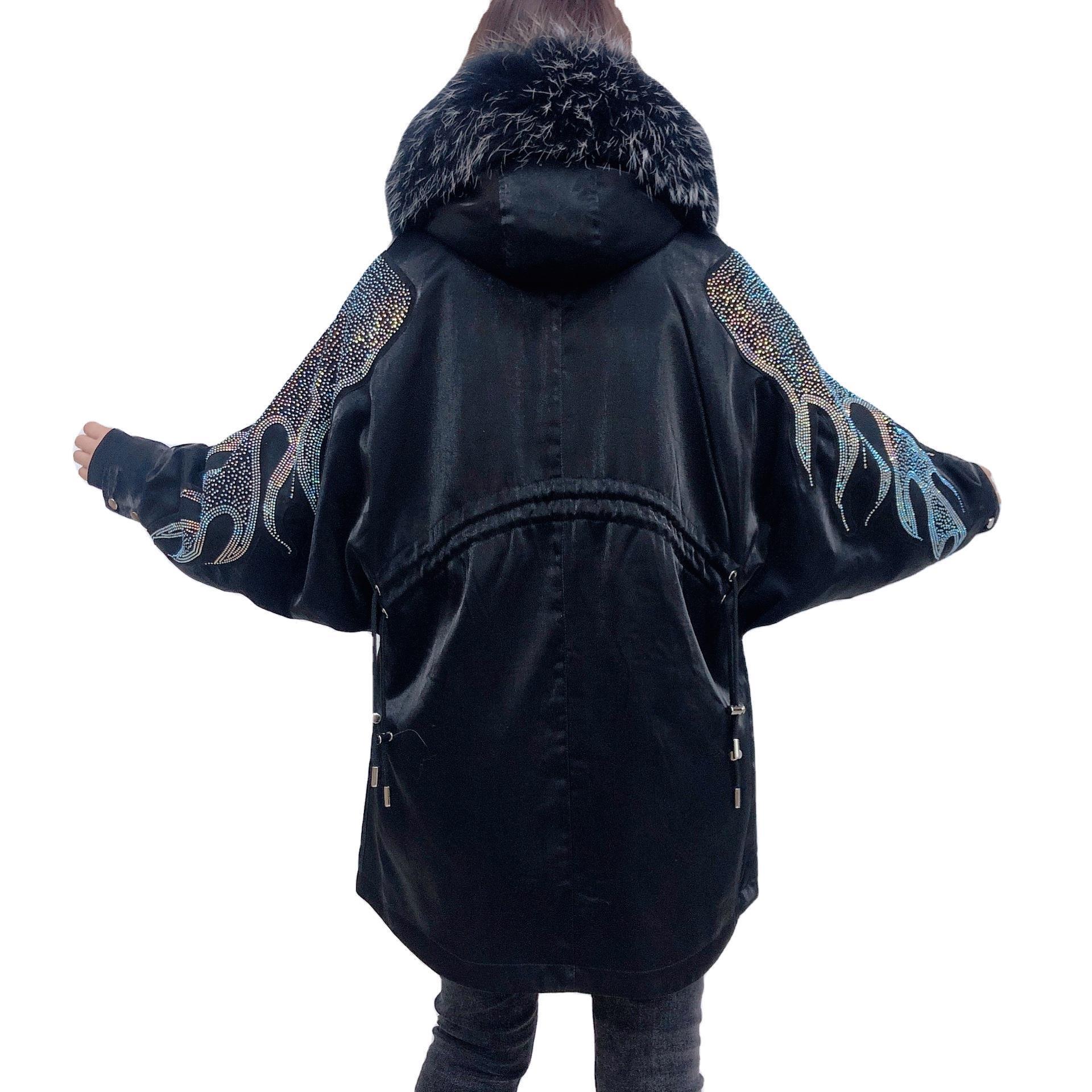 派克服女现货品质款2020秋季OL气质韩版女装长袖连帽皮草工厂批发