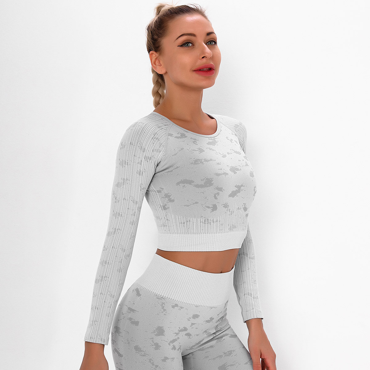 seamless knitted quick-drying long-sleeved running yoga wear  NSLX9039