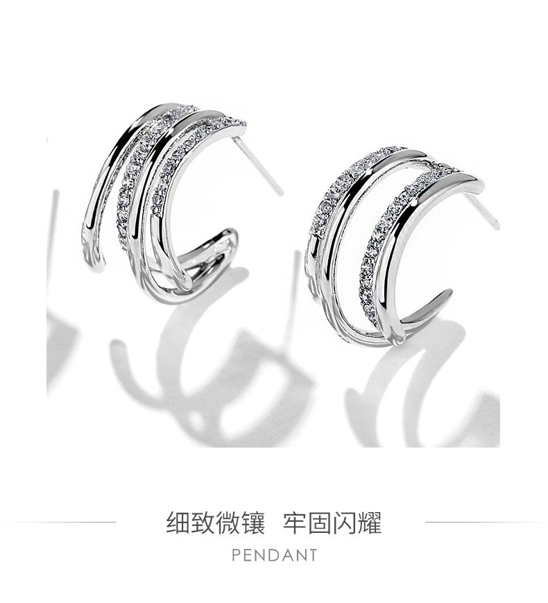 925 silver pin geometric personality simple earrings sexy elegant earrings NHPP198643