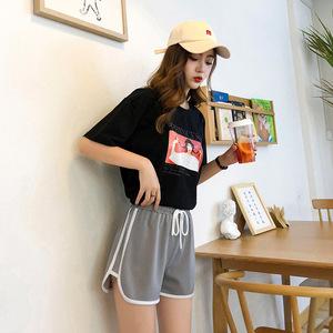 ខោខ្លីនារី Women Loose High Waist Wide Leg Shorts PZ584619