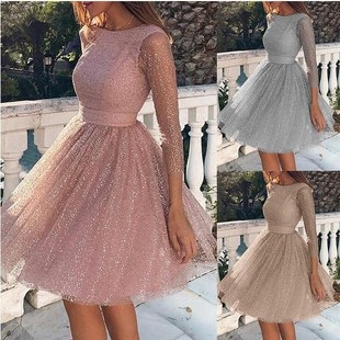 Ladies Fashion Long Sleeve Dress High Waist Evening Dress Cocktail Party Dress Ladies Fashion Clothing Plus Size