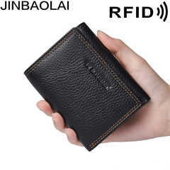 Amazon Anti-Theft Swipe Tri-fold Multi-Card RFID Men's Leather Wallet Shield Anti-Theft Wallet Men Wallet