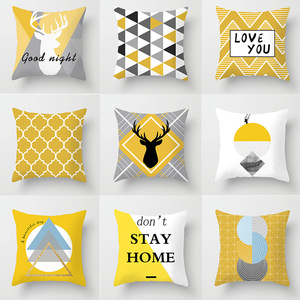 18'' Pillow Case Cushion Cover Nordic yellow geometry elk pillow cover sofa cushion cover customization