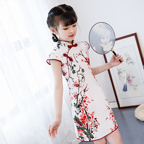Qipao for kids Children Chinese Dress cheongsam girl little girl short sleeve national Princess Dress