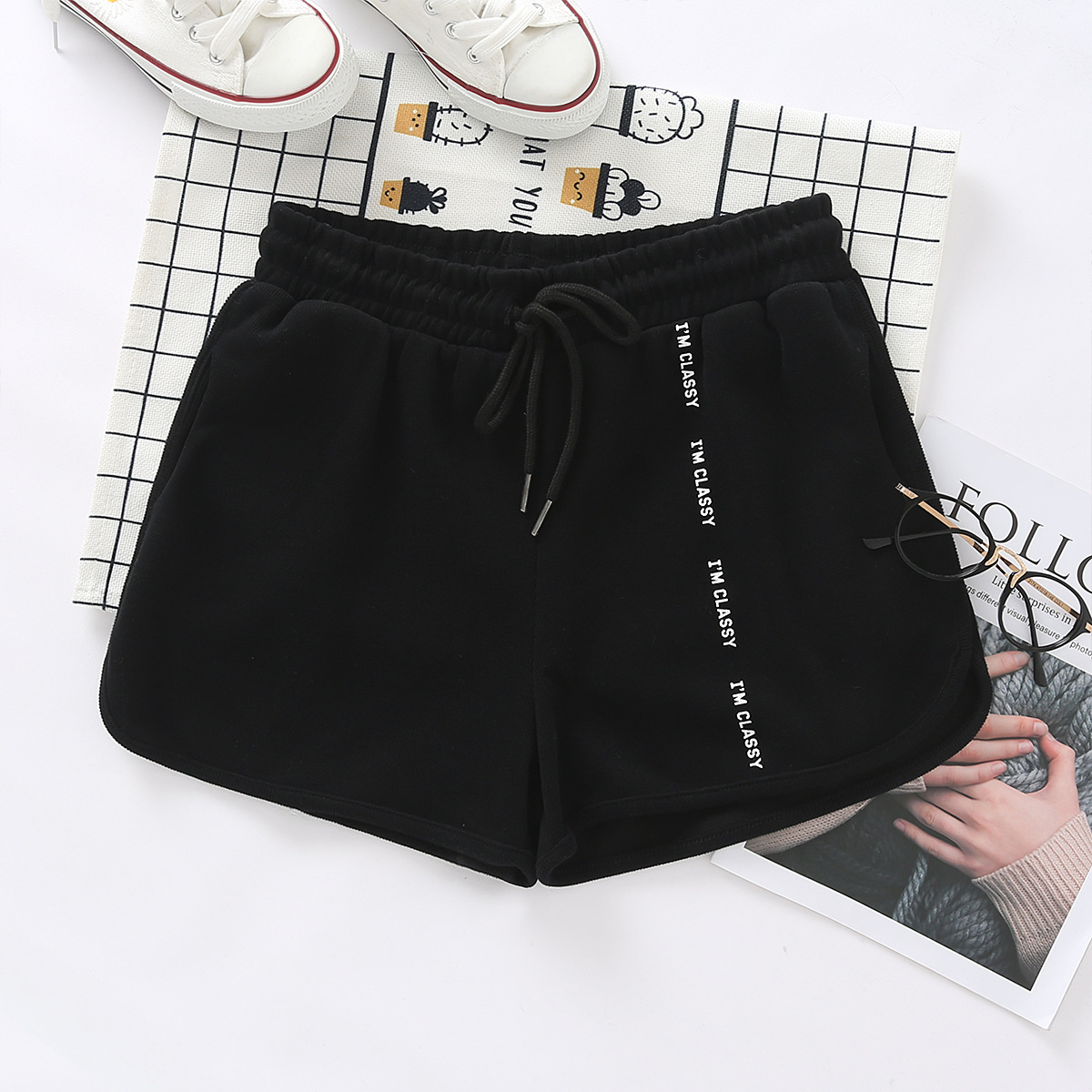 nihaojewelry wholesale fashion new simple comfortable women's new vertical printed letters casual shorts  NHAM217673