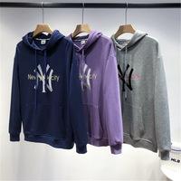 Осенняя пара моделей NY с большим логотипом и капюшоном бренда Lucky Tide Yankees Корейская версия свитера с капюшоном с длинными рукавами, уменьшающего старение