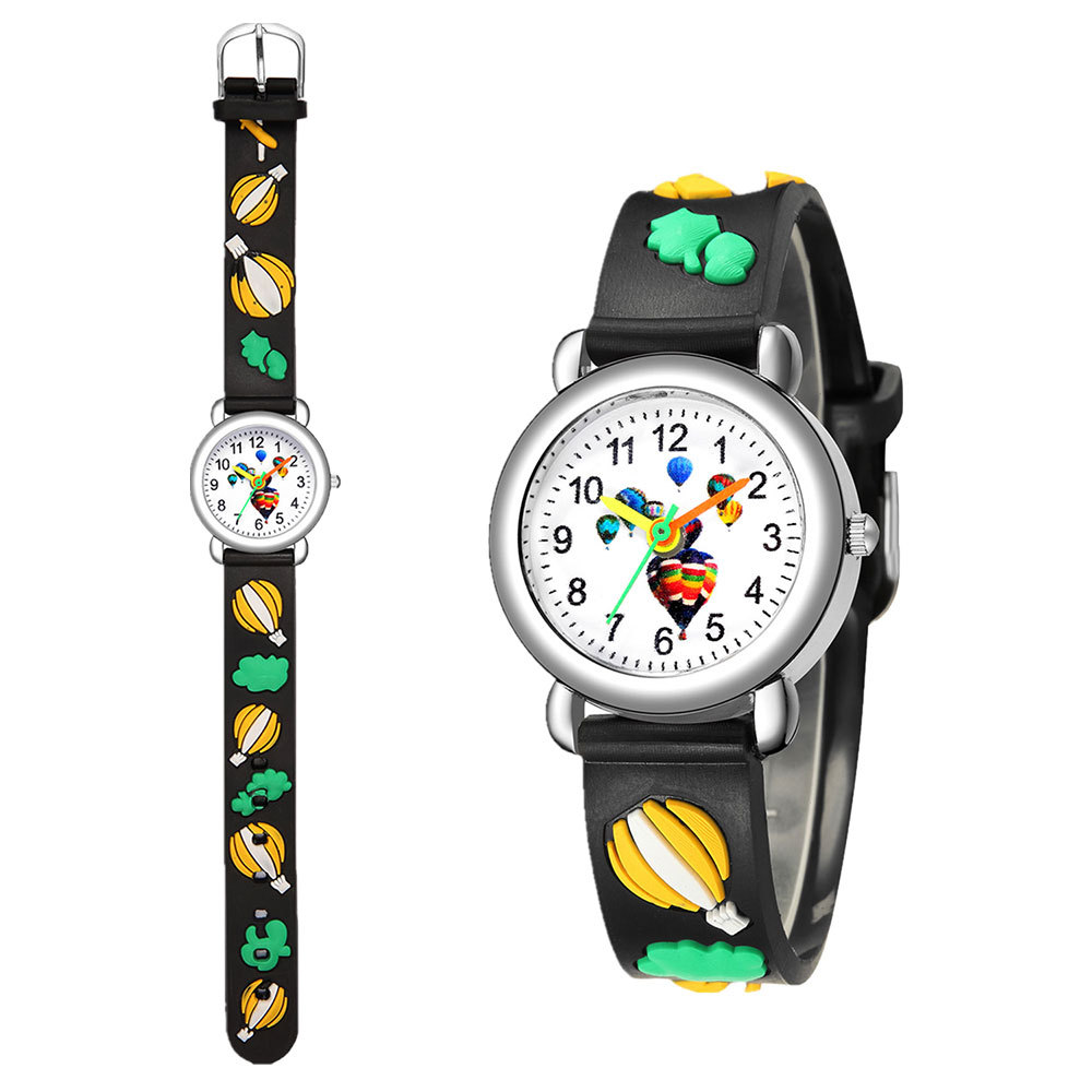 Children's watch cute hot air balloon plastic band quartz watch 3D embossed color band student watch NHSY202007