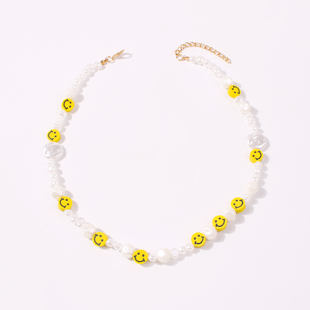 Korean fashion pearl necklace creative handmade vacation style smiley face necklace jewelry women NHMD205828
