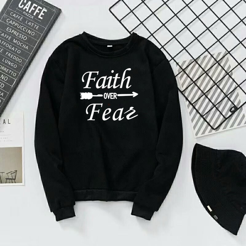 Faith Over Feas Letter Printed Round Neck Sweater