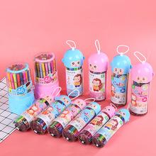 48色水彩笔桶装儿童绘画彩色笔可水洗幼儿园美术涂鸦画画彩笔批发