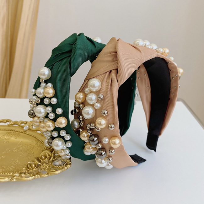 Fashion Champagne Large And Small Pearl Cloth Knotted Wide-brimmed Headband