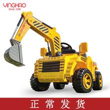 鹰豪挖掘机玩具车可坐广场儿童玩乐电动挖土机男孩挖机四轮工程车