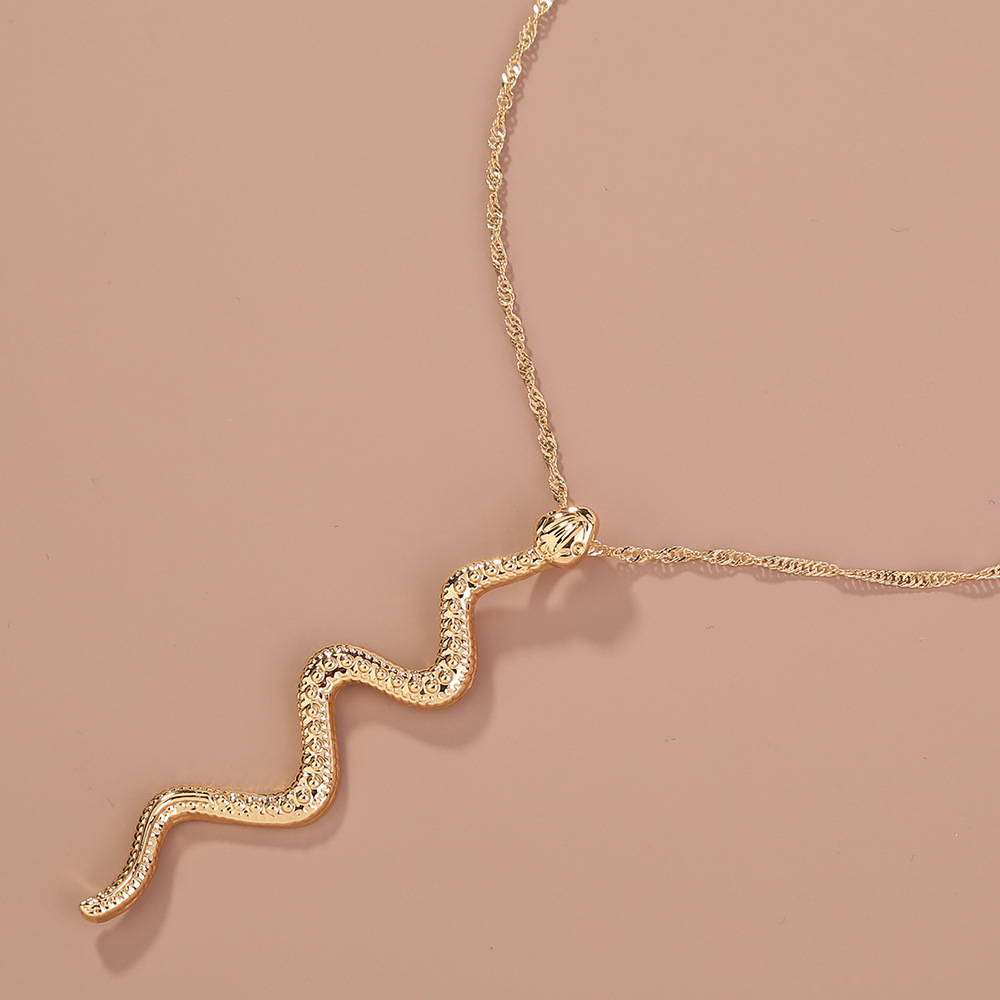 new hot-selling curved snake-shaped retro hip-hop style fashion zodiac alloy necklace  NHAN251961