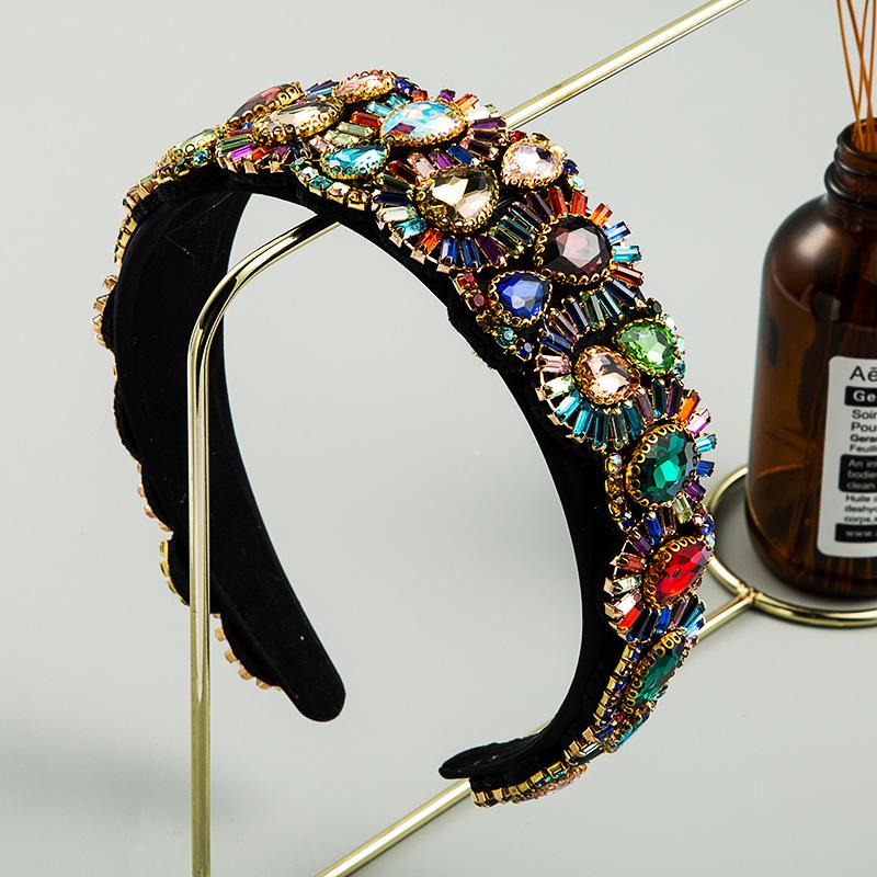 fashion color rhinestone headbands women's luxury baroque full diamond super flash headband NHLN228731