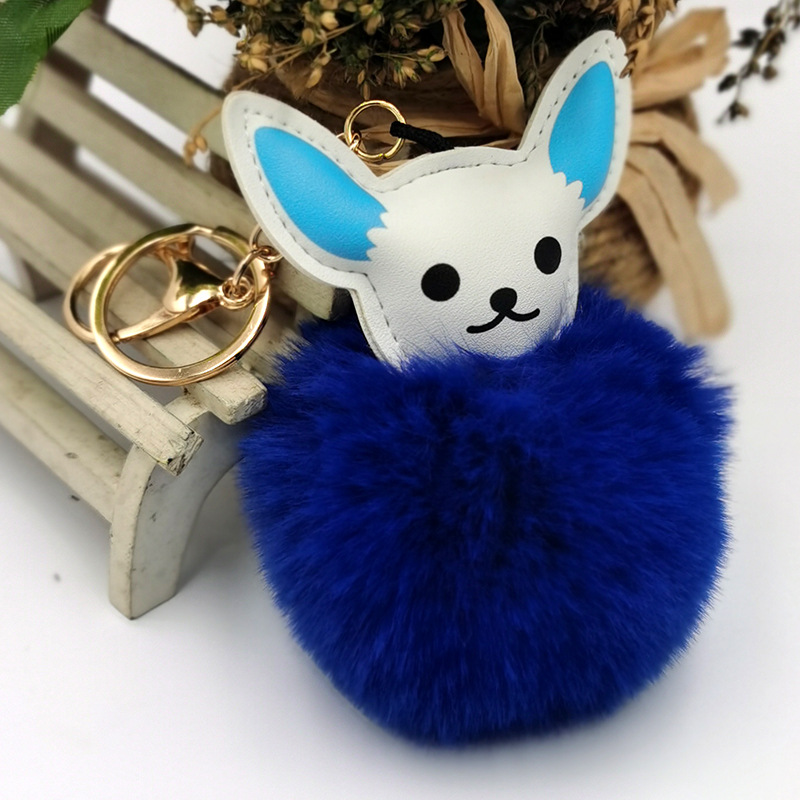 new PU leather fox Christmas fur ball keychain  NHDI268700