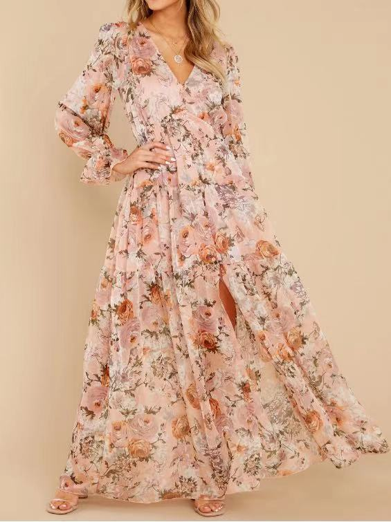 chiffon V-neck flounce sleeve floral dress NSHZ35286