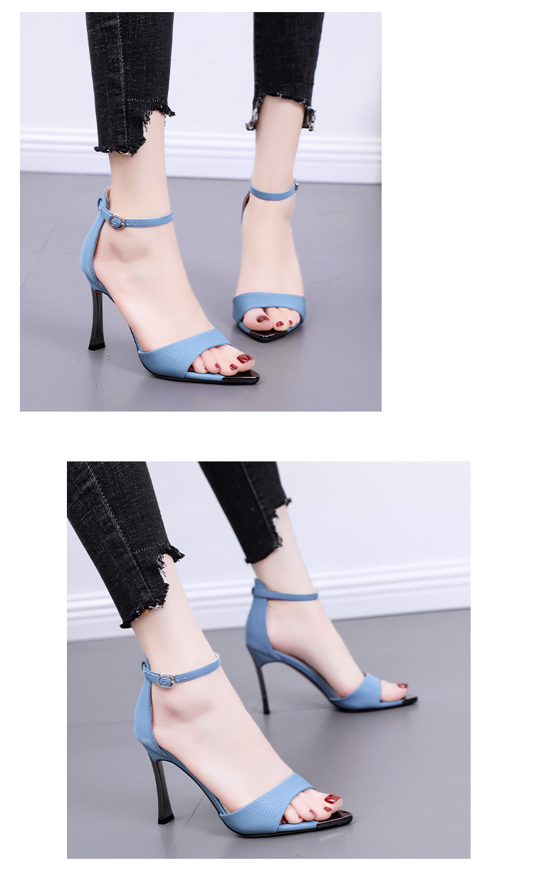 New stiletto heel open toe strap sandals buckle pointed pointed versatile women's shoes NHSO200242