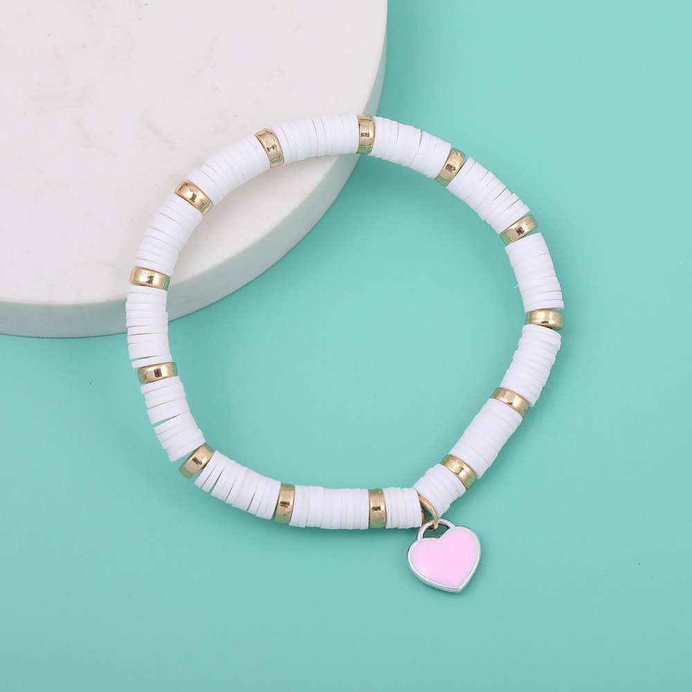 Fashion love pendant soft ceramic bracelet color beach bracelet elastic rope bracelet women's beaded bracelet nihaojewelry NHLL238088