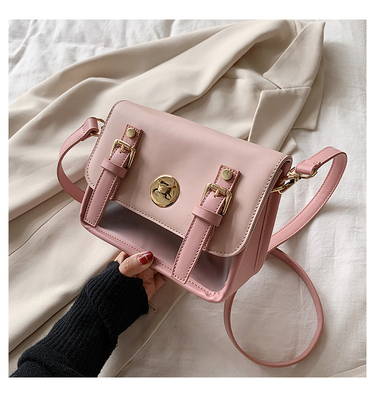 Women's new spring and summer fashion Korean shoulder bag transparent jelly small square bag NHTC205507