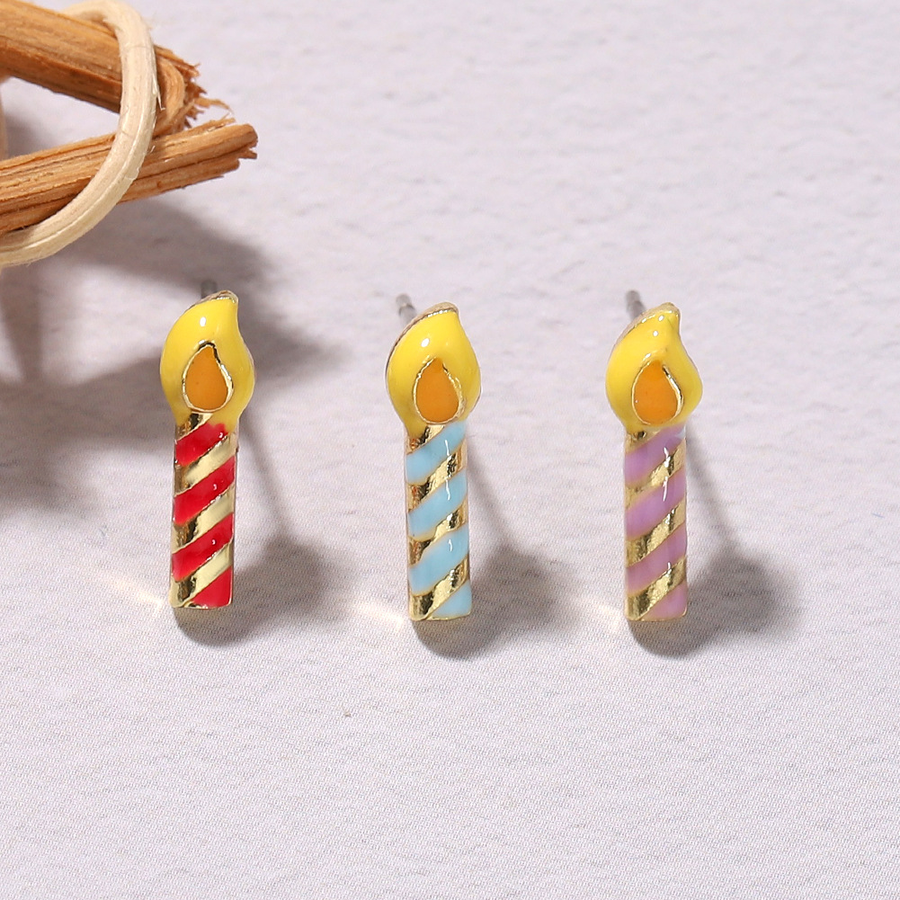 Halloween Christmas birthday gift fun cartoon color dripping candle earrings wholesale NHJQ258299