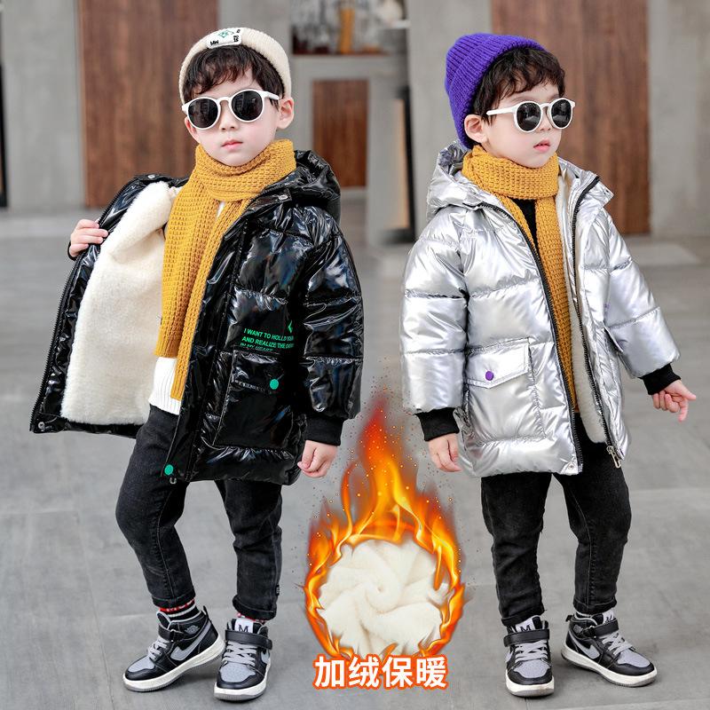 童装2020冬季新款男童棉衣韩版中小童时尚印花加绒加厚洋气棉服潮
