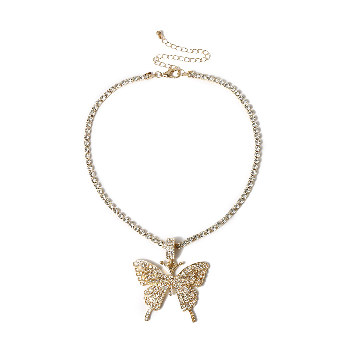 Fashion Jewelry yiwu nihaojewelry Wholesale Single Layer Claw Chain Diamond Necklace Exaggerated Diamond Large Butterfly Necklace NHXR213633