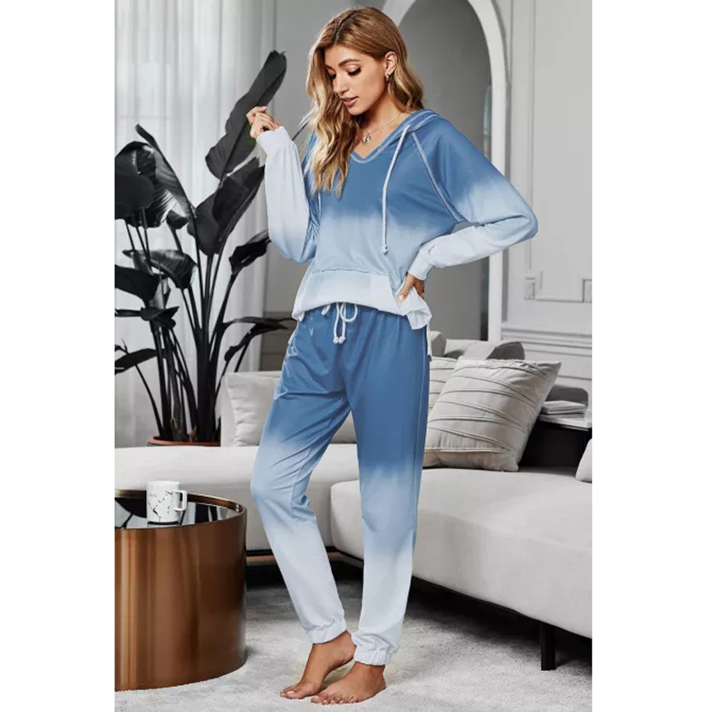 tie-dye printing pullover long-sleeved T-shirt women's loose gradient color trousers two-piece sweater NSYD3682