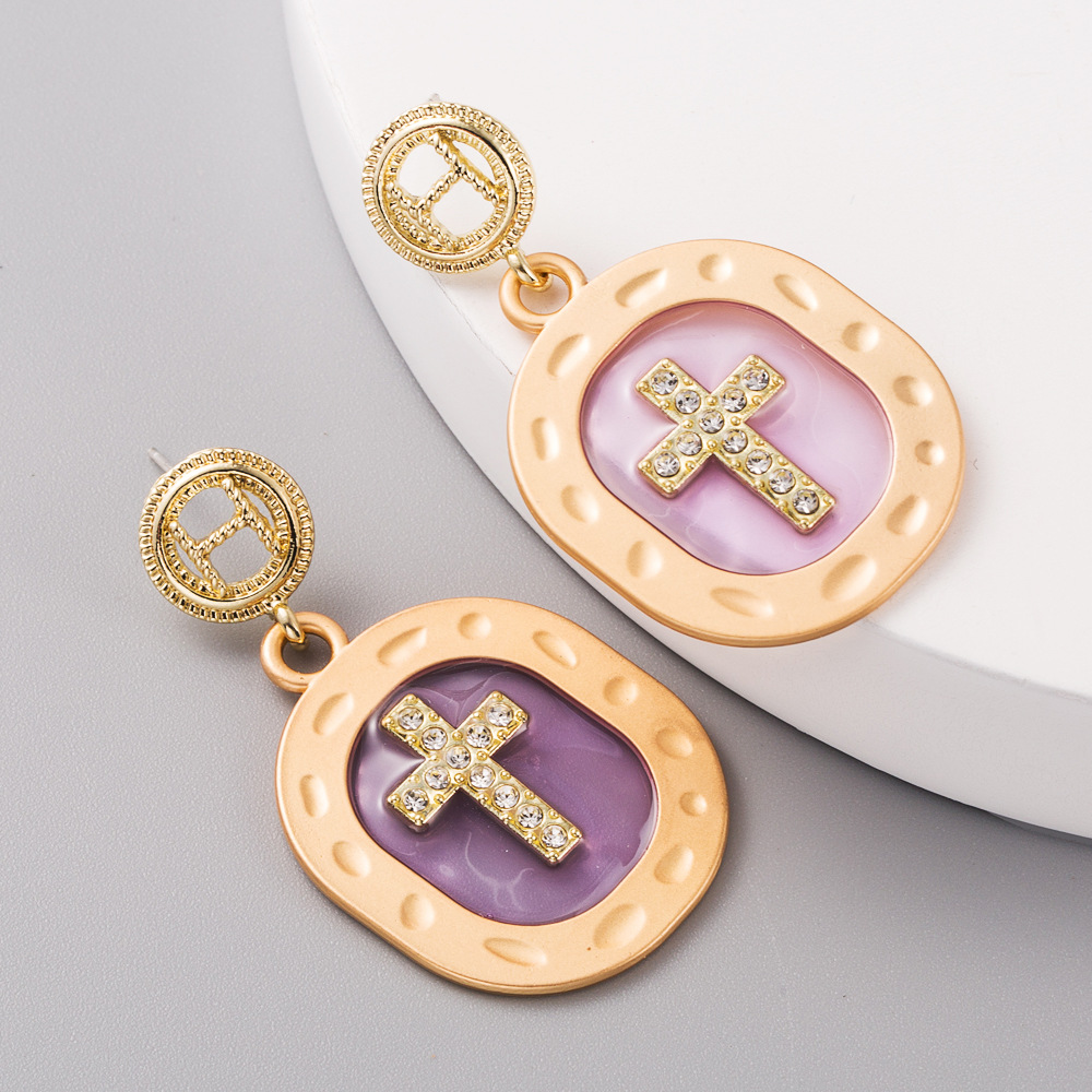 New fashion color transparent oil drop alloy exaggerated cross diamond long earrings yiwu nihaojewelry wholesale NHLN208153