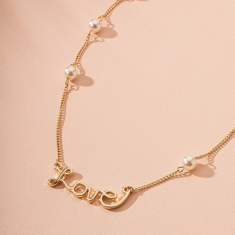 Korean pearl letter alloy love clavicle chai new necklace wholesale NHAI241622
