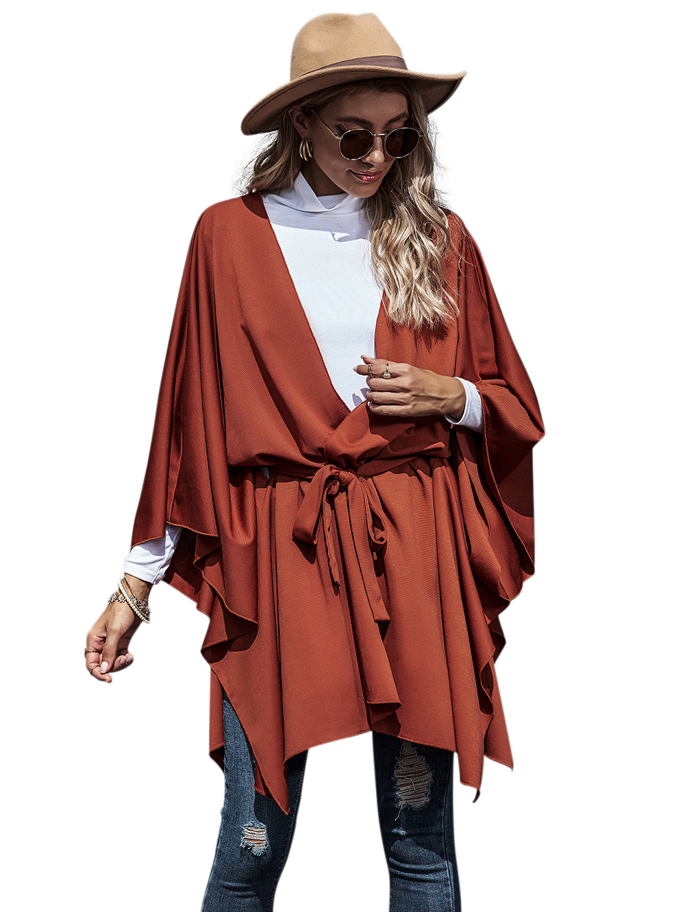 new women's loose bat sleeve long sleeve cardigan strappy cloak coat NHDF89