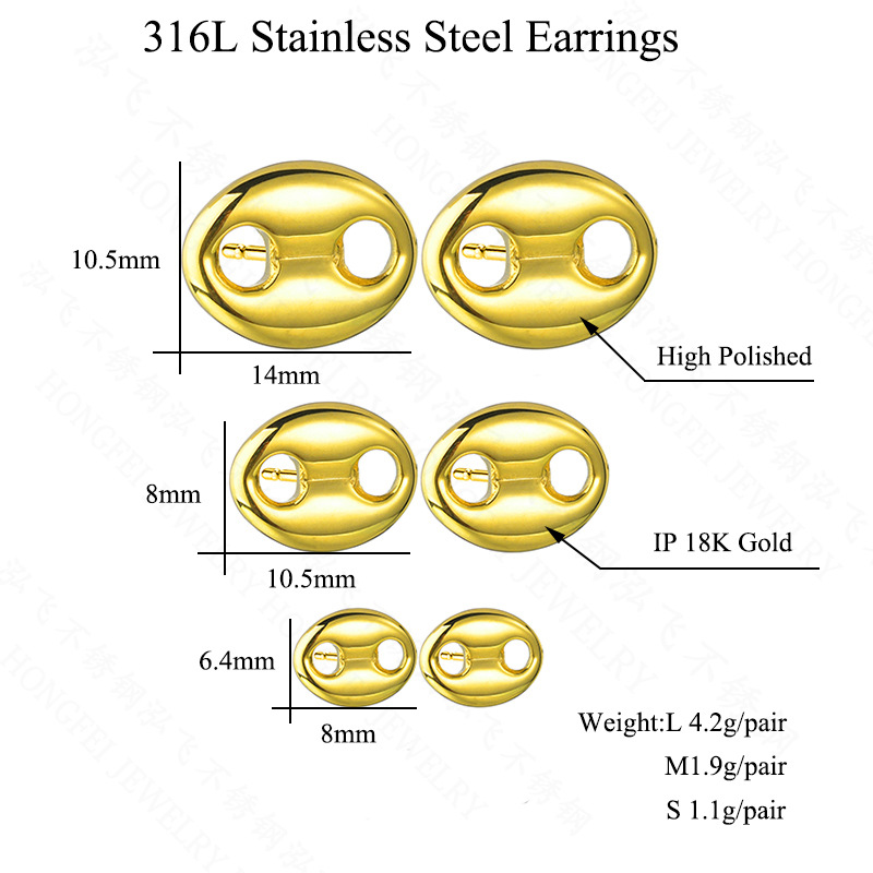 New simple and interesting coffee beans earrings titanium steel oval button earrings nihaojewelry wholesale NHHF213725
