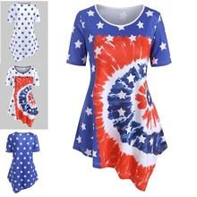 2020新款 wish亚马逊eBay夏季星星圆领带3D印花印花不对称T恤女