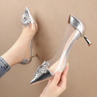 2020-6 in Europe and the sexy pointed shallow mouth high-heeled shoes sunflower show thin transparent web celebrity women's shoes heel shoes