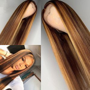 Wig dyed with long straight hair and high temperature rose net wig