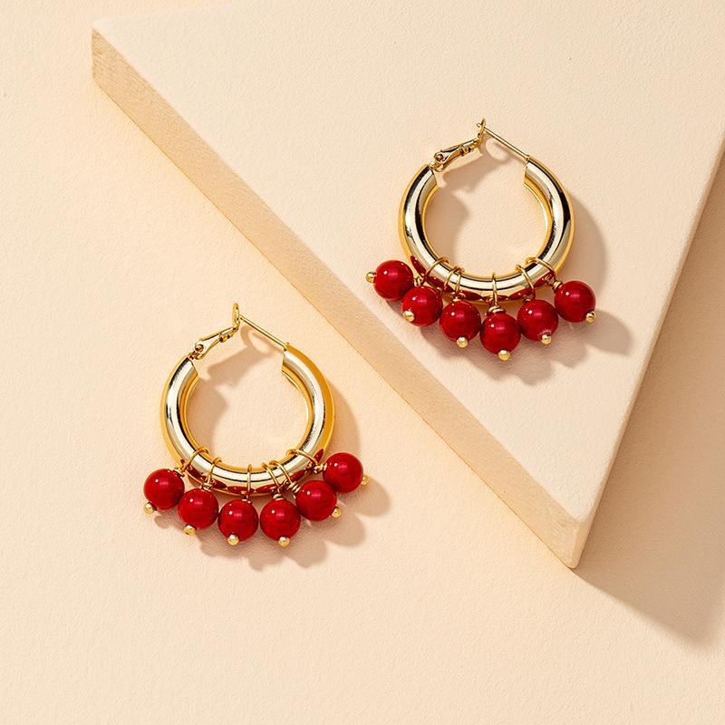 Fashion  Pair of Pearl Hoop Earrings  NHGU268037