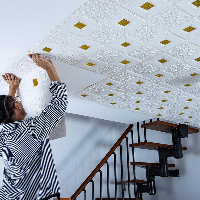 3D立体墙贴自粘墙纸卧室温馨泡沫吊顶天花板壁纸装饰屋顶隔音贴纸