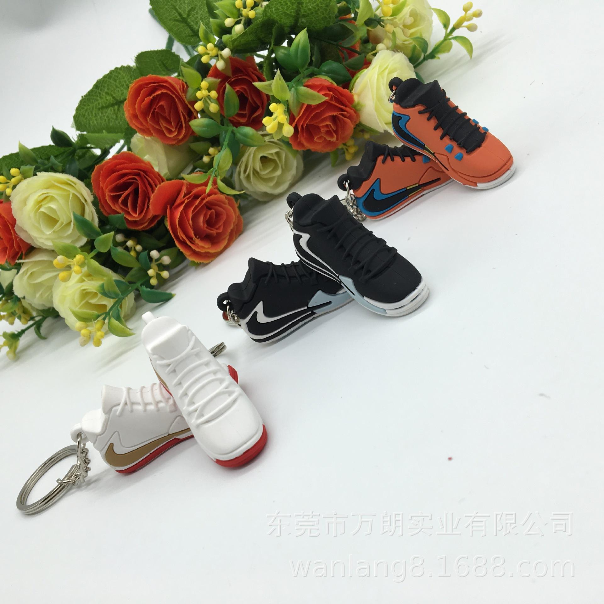 出口定制PVC立体仿真鞋子钥匙扣 创意宣传礼品品牌小鞋钥匙挂件