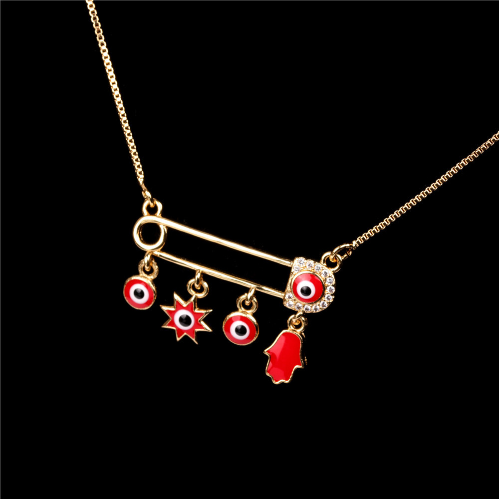 Fashion Pin Zircon Necklace Dripping Palm Eye Pendant Jewellery NHPY196573