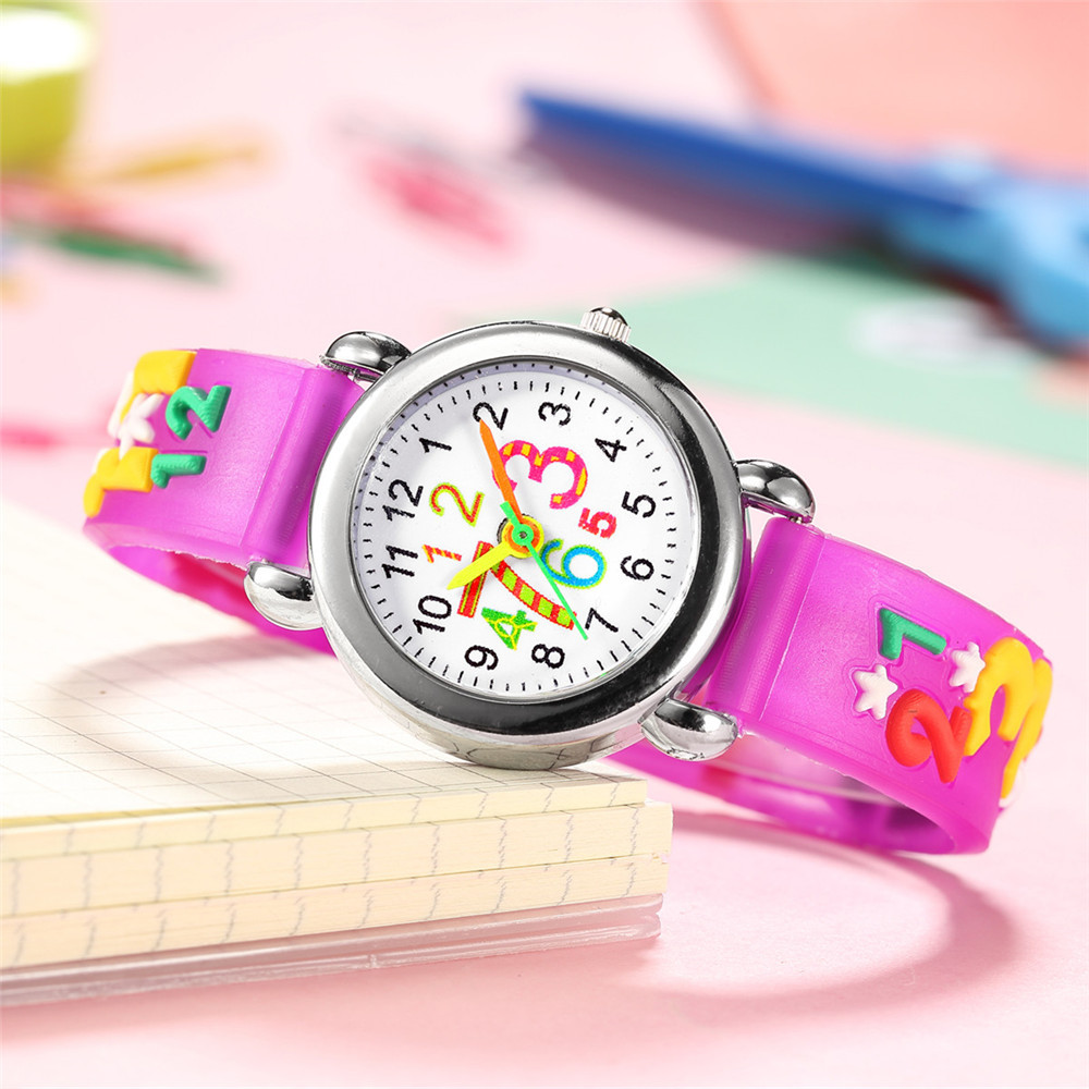 Relief color band children watch cute digital face plastic band quartz watch NHSS200487