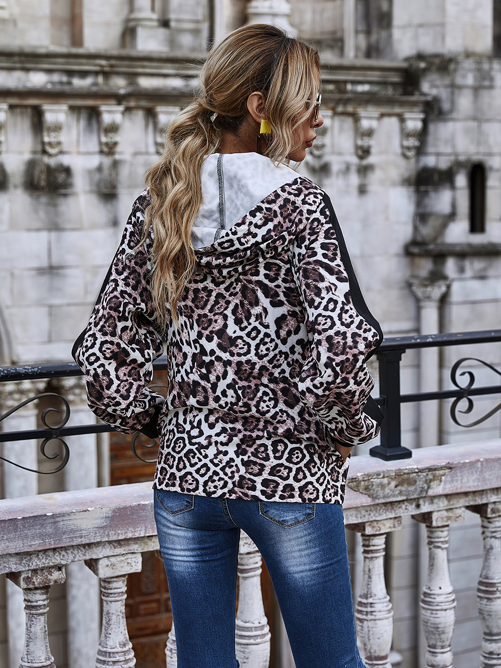 Autumn and winter new hot sale leopard print stitching hooded jacket  NHDF67