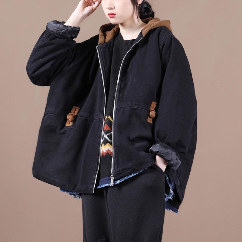 原创冬装2020新款女宽松大码文艺拼色盘扣夹棉做旧牛仔棉衣外套